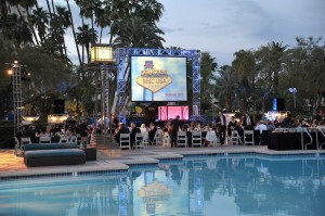 outdoor pool stage